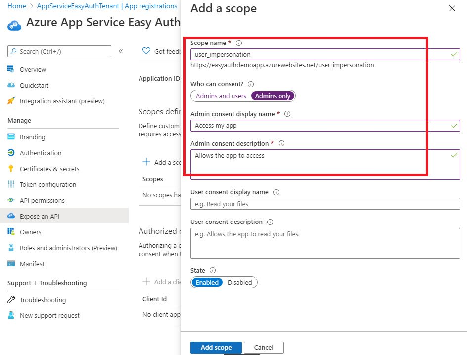 App registration for App Service Easy Auth Step 9